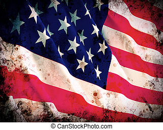 old glory flag - fine 3d image of america grunge flag...