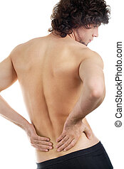 Spinal problem - Back view of young man touching aching back