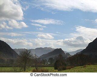 Borrowdale Lakeland Valley - View looking South along the...
