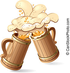 Beer mugs - Two wooden beer mugs with foam splash. Vector...