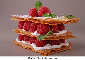 french dessert, mille feuille - raspberry mille feuille