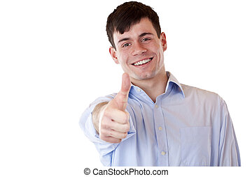 Young happy smiling handsome man shows thumb up