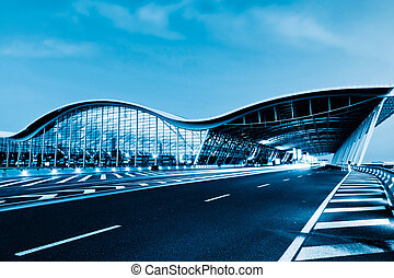 airport - the night view of the pudong airport.
