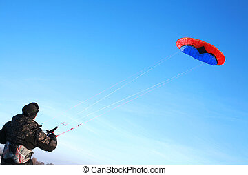 Red blue power kite - This kite is a de-power foil and can...