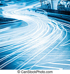 light trails - the light trails on the steet in shanghai...
