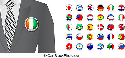 Diplomat with flag badge on white background. Vector set