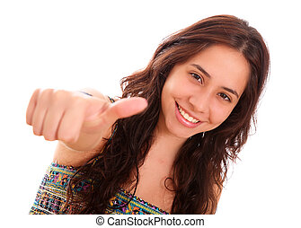 Positivism - Happy woman with a gesture of positivism in his...