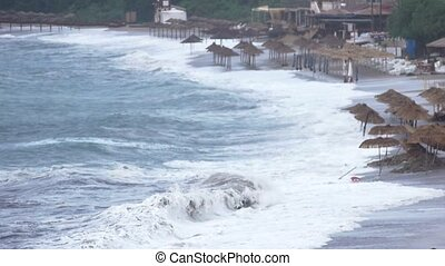 Sea storm,Tsunami, waves near coast