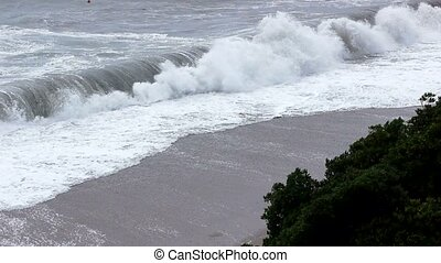 Sea storm,Tsunami, waves near coast - Sea storm