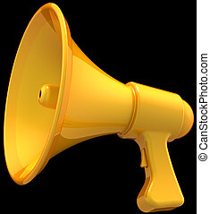 Megaphone total yellow on black - Megaphone news announce...