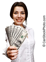 Happy young woman holding money - Woman holding out money...