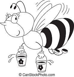 bee and honey outlined