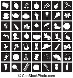 set with many different icons on black vector illustration
