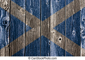 scotland flag on aged wooden wound