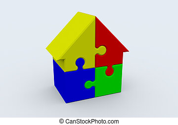 House puzzle - Jigsaw puzzle in the shape of a house
