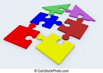 House puzzle - Disassembled jigsaw puzzle in the shape of a...