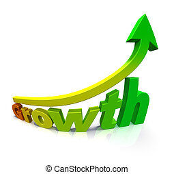 Gradient colored arrow and the word Growth