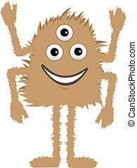 Brown Furry Monster three eyes four - Cartoon cute and...