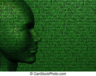 Man machine code - Illustration of a face made up of binary...