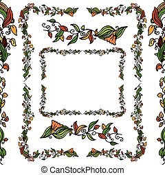 Flower Vine Border Set - An image of a flower vine border...