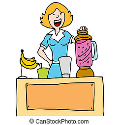 Woman Making a Banana Smoothie - An image of a woman using a...
