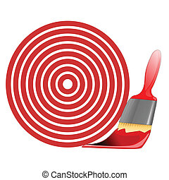 red target and paint brush