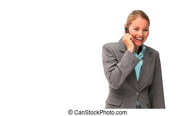Good looking business woman speaking on the phone