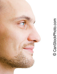 face unshaven young man in profile - happy face unshaven...