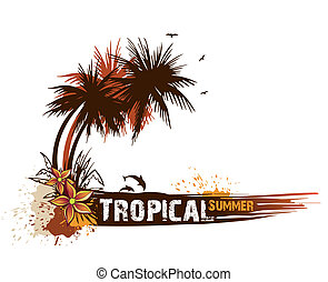 Summer background with palms Vector card illustration