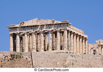 Parthenon temple in the Athenian Acropolis in Greece against...