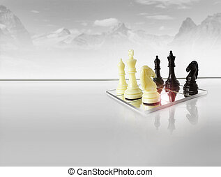 Strategy - Chess pieces on white reflective foreground with...