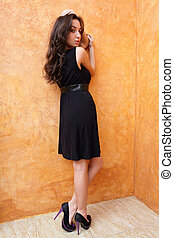 Fashion photo of a young beautiful lady in dress with nice shoes