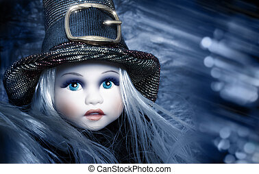 Doll in winter - Fantastical stylized portrait of an antique...
