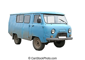 Old blue van - An old blue van isolated on white