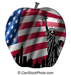 Big Apple with USA Flag and New York Skyline - Big Apple...