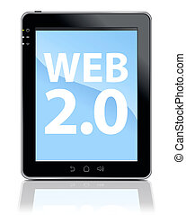 Tablet PC with WEB 2.0 Type - 3d Illustration of Tablet PC...