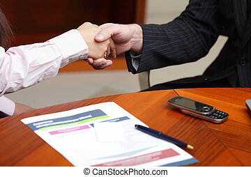 Business man and business woman making a deal