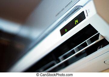 Primer plano, foto, Aire, acondicionador, foco, temperatura,...