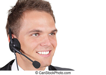 Smiling business man with headset. Over white background