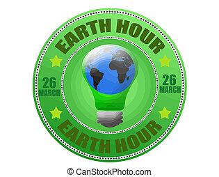 Earth hour label - Earth hour green label, vector...
