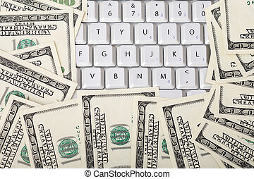 Keyboard with stack of money