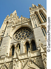 Close up of the front of Truro Cathedral, Cornwall UK