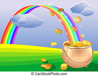 vector pot of gold coins and rainbow on the field