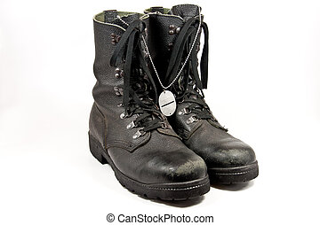 Army boots with dog-tag - Picture of some old army boots...