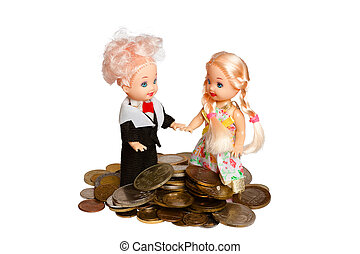 two little dolls with pile coins