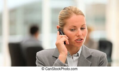 Attractive business woman speaking on the phone with...