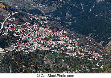 Village of Metsovo, Greece, aerial view.