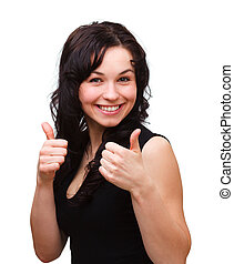 Young woman showing thumb up gesture - Young woman dressed...