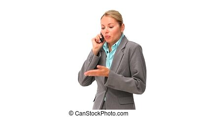 Casual business woman having a phon