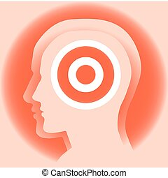 Target - Abstract image of a silhouette of a mans head with...